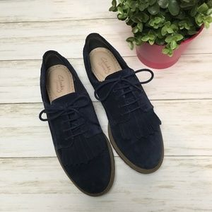 Clarks Somerset Blue Suede Oxford Loafers w/fringe